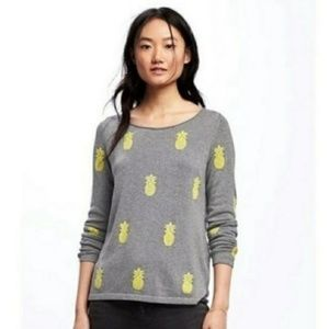 Old Navy Pineapple Gray Sweater Sz Large